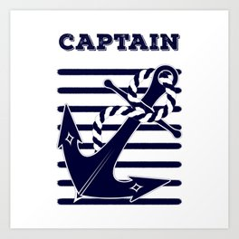 Nautical Navy Blue Anchor and Stripes Captain's Design Art Print