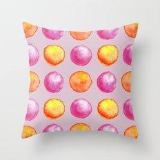 Juicy Watercolor Pink Pearls And Orange Fireballs Pattern Throw Pillow