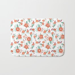Autumn Fall florals cute winter christmas theme pattern print Bath Mat