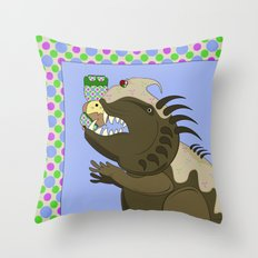 Mean Monster With Kawaii Person Throw Pillow