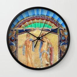 House of Neptune & Amphitrite Mosaic Tesserae Tile Depiction, Herculaneum, Italy Wall Clock