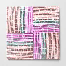 Red, Teal, Pink Vein and Stripe Patterns Metal Print