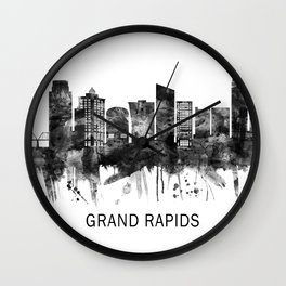 Grand Rapids Michigan Skyline BW Wall Clock