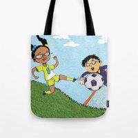 soccer Tote Bags featuring Soccer by sheena hisiro