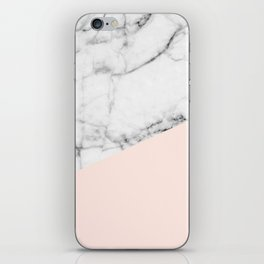Real White marble Half Salmon Pink iPhone Skin