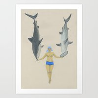 kozyndan Art Prints featuring The Shark Charmer by kozyndan