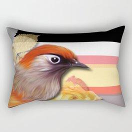 Bird, Flowers, Leaves, & Stripes Rectangular Pillow