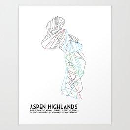 Aspen Highlands, CO - Minimalist Trail Map Art Print