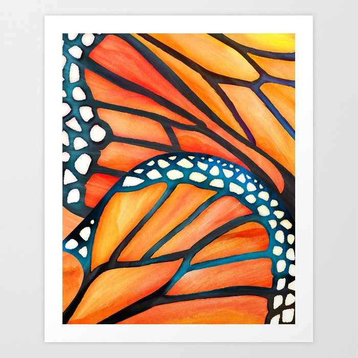 Monarch Butterfly Wings Watercolor Abstract Art Print