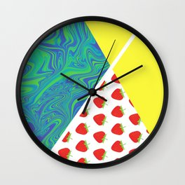 Ready strawberry play tennis graphic Wall Clock