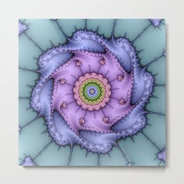 Magical zoomed fractal image in shiny pastel colours Metal Print