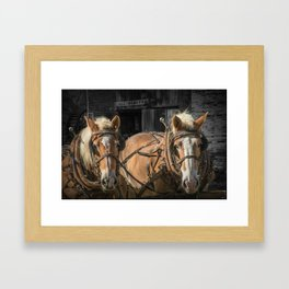 A Team of Work Horses waiting by a Blacksmith Shop at Bowens Mill Framed Art Print