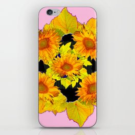 Golden Sunflowers & Leaves Pink-Black Patterns iPhone Skin