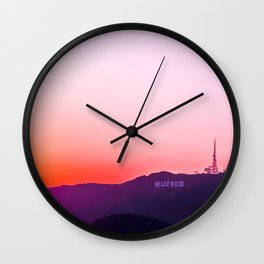 Hollywood sign with summer sunset sky Wall Clock