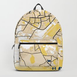 Halle Yellow City Map Backpack