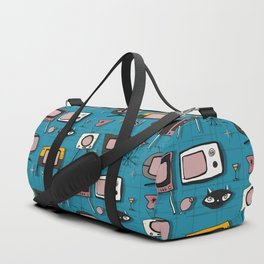 Retro Tv Teal #midcentury Duffle Bag