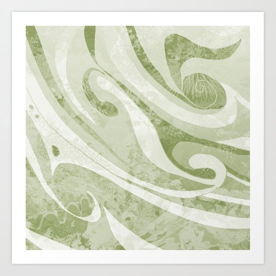 Abstract Green Waves Design Art Print