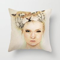 beast Throw Pillows featuring BEAST by Tessa