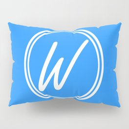 Monogram - Letter W on Dodger Blue Background Pillow Sham