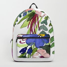 Hanging florals - pink and blue flowers with folliage  Backpack