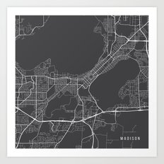 Madison Map, USA - Gray Art Print