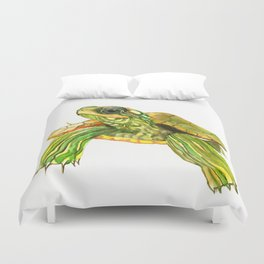 Baby Turtle, Green, Yellow Olive Green Children Duvet Cover