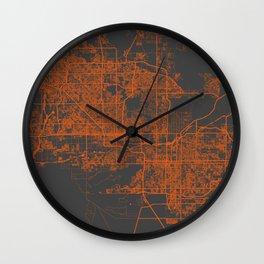 Phoenix map orange Wall Clock