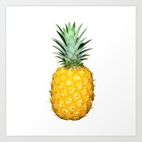 pinapple Art Prints featuring Pineapple by CumulusFactory