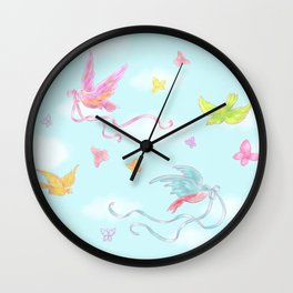 Birds and Butterflies Wall Clock