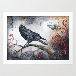 Dirigible Crow Art Print