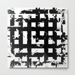 Splatter Hatch - Black and white, abstract hatched pattern Metal Print