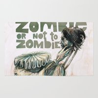 shakespeare Area & Throw Rugs featuring Zombie + Shakespeare by Stephane Lauzon