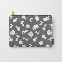 The Little Farm Animals, white on grey Carry-All Pouch
