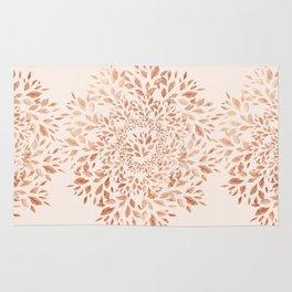 Rose Gold Leaves Mandala Rug