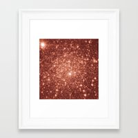 rose gold Framed Art Prints featuring rose gold stars by GalaxyDreams
