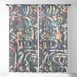 Graffiti Abstract Art Spray Paint Sheer Curtain