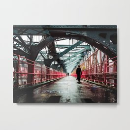 New York City Williamsburg Bridge in the Rain Metal Print