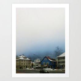 blue fog in Bregenz Art Print