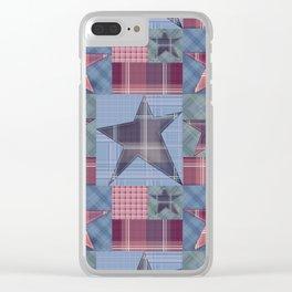 Blue denim plaid patchwork . Clear iPhone Case