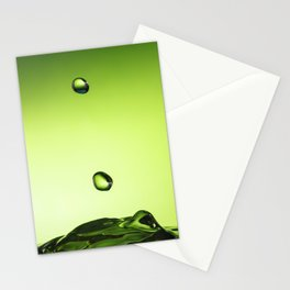 Green water drops Stationery Cards