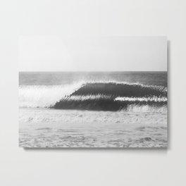 Black and White Wave Metal Print
