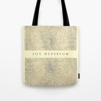 joy division Tote Bags featuring joy division by ░░░░░░░░░░░░