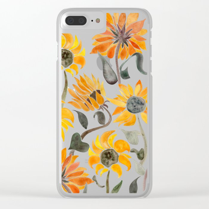 sports shoes ab804 67903 Sunflower Watercolor – Yellow & Black Palette Clear iPhone Case by catcoq