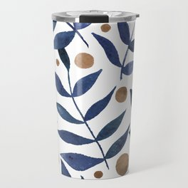 Watercolor berries and branches - indigo and beige Travel Mug