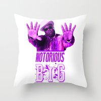 notorious big Throw Pillows featuring Notorious Big by Gold Blood