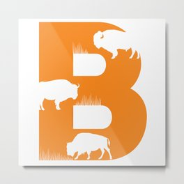 B is for Bison - Animal Alphabet Series Metal Print