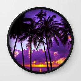 Purple Tropical Sunset Wall Clock