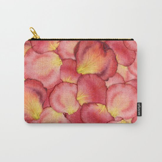 Pink Rose Petal Pattern Carry-All Pouch