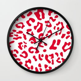 Big Candy Apple Red Leopard Spots Wall Clock