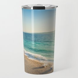 Beach in croatian coast, blue sea. Aerial view Travel Mug